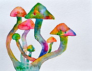 Purple Mushroom Framed Prints - Dancing Cubensis Framed Print by Beverley Harper Tinsley