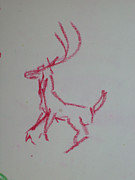 Reynolds Drawings - Dancing Deer by James Reynolds