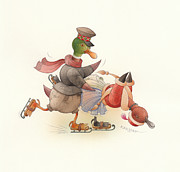 Christmas Drawings Originals - Dancing Ducks 03 by Kestutis Kasparavicius