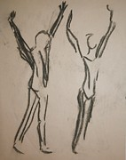 Passion Drawings Posters - Dancing Poster by Elena Svobodina