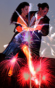 Fireworks Mixed Media Metal Prints - Dancing Fireworks Metal Print by Michael Knight