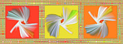 Vivid Digital Art - Dancing Flower Trio by Ben and Raisa Gertsberg