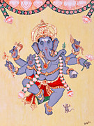 Vinayaka Paintings - Dancing Ganapati by Pratyasha Nithin