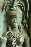 Siem Reap Photo Posters - Dancing goddesses carving at Angkor Wat Cambodia Poster by Fototrav Print
