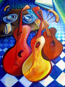 Art By Frederick Luff Framed Prints - Dancing Guitars Framed Print by Frederick Luff  GALLERY
