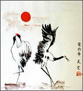 Wildlife Landscape Drawings - Dancing herons Suginomai by Tenku