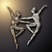 Ballet Dancers Digital Art Prints - Dancing in the Dark Print by Diuno Ashlee