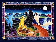 Raccoon Painting Posters - Dancing in the Moonlight Poster by Harriet Peck Taylor