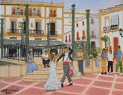 Espana Painting Posters - Dancing in the Plaza de Espana Ronda Spain Poster by Jack McKenzie