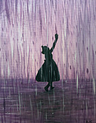 Shadow Dancing Painting Framed Prints - Dancing in the Rain Framed Print by Kindra Design