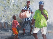 Bahamas Landscape Paintings - Dancing in the Street Eleuthera by Susan Richardson
