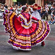 Mexican Dancing Prints - Dancing in the Streets of TJ by Diana Sainz Print by Diana Sainz