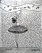 Dance Shoes Drawings Prints - Dancing Lyrics Print by Chenee Reyes