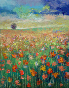 Poppies Field Paintings - Dancing by Michael Creese