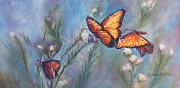 Chatham Painting Prints - Dancing Monarchs Print by Karen Kennedy Chatham