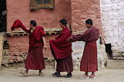 Red Robe Posters - Dancing Monks - Drigung Monastery Tibet Poster by Craig Lovell