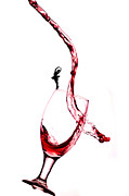Wine Glasses Posters - Dancing on a glass cup with splashing wine little people on food Poster by Paul Ge