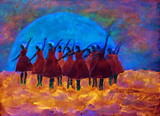 Ballet Dancers Prints - Dancing on Fire in the Moon light Print by Ann Michelle Swadener