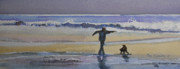 Edge Paintings - Dancing On the Beach by Jan Cipolla