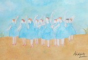 Ballet Dancers Painting Prints - Dancing on Top of the Beach Print by Ann Michelle Swadener