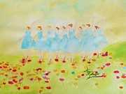 Ballet Dancers Painting Prints - Dancing on Top of the Flowers Print by Ann Michelle Swadener