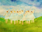 Ballet Dancers Paintings - Dancing on Top of the Grass by Ann Michelle Swadener