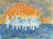 Ballet Dancers Painting Prints - Dancing on Top of the Sea Print by Ann Michelle Swadener