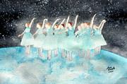 Ballet Dancers Paintings - Dancing on Top of the World by Ann Michelle Swadener