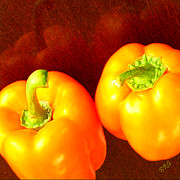 Golden Brown Prints - Dancing Peppers Print by Ben and Raisa Gertsberg