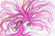 Lively Drawings - Dancing Pink Tree by Nina Kuriloff