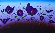 Dancing Purple Poppies 1 Print by James Dunbar
