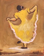 Mexican Folklore Paintings - Dancing by Ruben Morales