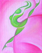 Abstract Expressionist Metal Prints - Dancing Sprite in Pink and Green Metal Print by Tiffany Davis-Rustam