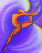 Abstract Expressionist Metal Prints - Dancing Sprite in Purple and Orange Metal Print by Tiffany Davis-Rustam