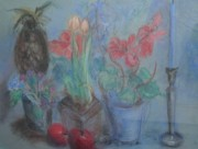 National League Pastels Prints - Dancing Still Life in Pastel Print by Patricia Kimsey Bollinger