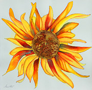 Autumn Drawings Prints - Dancing Sunflower Print by Shannan Peters