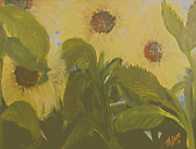 Mj Painting Prints - Dancing Sunflowers Print by Mj Deen