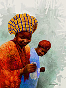 Ethnic Paintings - Dancing Time - Colorful African Couple Dancing  by Kanayo Ede