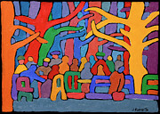 Park Benches Painting Posters - Dancing Trees in the Park Poster by Joe Esposito