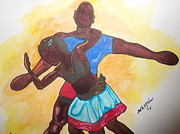 People Pastels Posters - Dancing Poster by Willie McNeal
