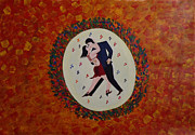 Music Lovers Painting Originals - Dancing with Girl friend by Jnana Finearts