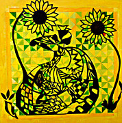 African Dance Mixed Media Posters - Dancing with Sunflowers Poster by Natalie Collins
