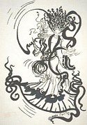 Dancing Girl Drawings Prints - Dancing With the Muse Print by Sigrid Tune
