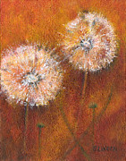 Dandelion Paintings - Dandelion Clocks by Sandy Linden