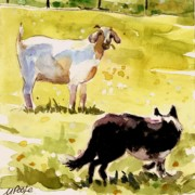 Goat Paintings - Dandelion Greens by Molly Poole