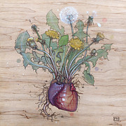 Dandelion Heart Print by Fay Helfer