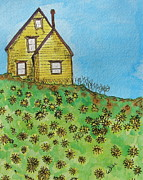 Dandelion Drawings - Dandelion Hill by Marcia Weller-Wenbert