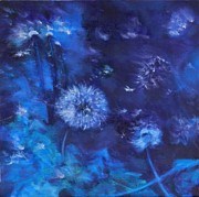 Phthalo Blue Paintings - Dandelion Night by Leisa Shannon Corbett