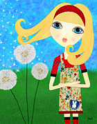 Blue Eyed Girl Prints - Dandelion Wishes Print by Laura Bell