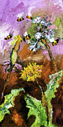 Ginette Fine Art LLC Ginette Callaway - Dandelions and Bees Modern Expressionism